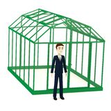 Businessman in front of greenhouse Royalty Free Stock Photo