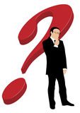 Businessman in front of question mark. Vector illustration of a well dressed business man standing and thinking in front of a big red 3d question mark isolated Stock Photos