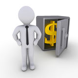 Businessman in front of safe. 3d businessman in front of open safe with dollar sign Royalty Free Stock Photo