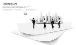 Businessman in front of the skycrappers. Illustration of businessman in front of the skycrappers Stock Photos