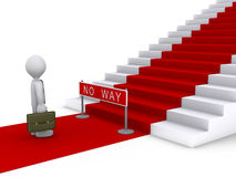 Businessman in front of stairs with no way sign. 3d businessman is in front of stairs with red carpet and a no way sign Stock Image