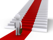 Businessman in front of stairs with red carpet. 3d businessman is in front of stairs with red carpet Royalty Free Stock Photos