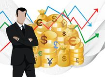 Businessman in front of stock market charts. Businessman in front of gold coins and stock market charts stock illustration