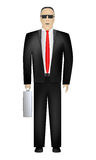 Businessman. Front view. Vector. Serious Business Man in black suit with silver metallic bag in right hand, isolated on white background vector illustration