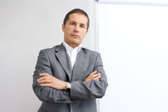 Businessman in front of the whiteboard Royalty Free Stock Photo
