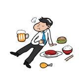 Businessman full of food vector illustration
