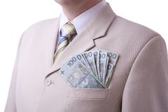 Businessman with full pocket Stock Photos