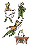 Businessman cartoon icons set Royalty Free Stock Image