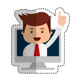 Businessman funny with computer character icon Royalty Free Stock Photos