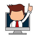 Businessman funny with computer character icon Stock Images