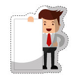 Businessman funny with document character icon. Vector illustration design Royalty Free Stock Photo