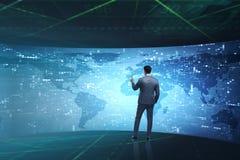 The businessman in futuristic computing concept Stock Photos