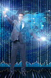 The businessman in futuristic computing concept Stock Images