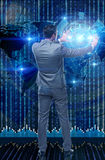 The businessman in futuristic computing concept Royalty Free Stock Images