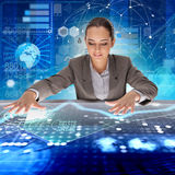 The businessman in futuristic trading concept Stock Images