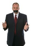 Businessman gagged. With tape. Concept - Freedom of speech, Something to say, Have your say Royalty Free Stock Photo
