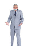 Businessman gagged with adhesive tape on mouth Stock Photo