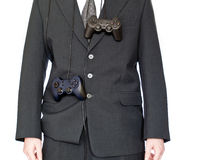 Businessman with gamepad Stock Images