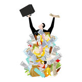 Businessman in garbage heap. Boss in Pile Rubbish. Waste managem Royalty Free Stock Images