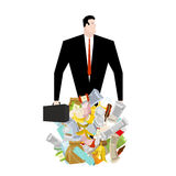 Businessman in garbage heap. Boss in Pile Rubbish. Waste managem Stock Images