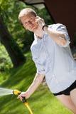 Businessman in garden Royalty Free Stock Photo