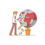 Businessman gardening world earth globe. In pot for money. Big global corporation earning finances nurturing planet. Modern flat style thin line vector Stock Photo