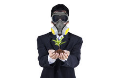 Businessman with a gas mask holding plant Stock Photos