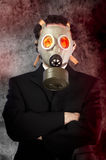 Businessman with gas mask, risk concept. Art royalty free stock photo