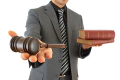 Businessman with gavel Stock Photos