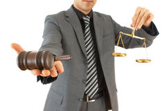 Businessman with gavel Royalty Free Stock Photos