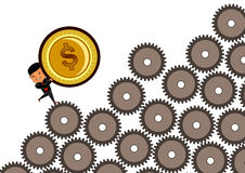Businessman on gear holding dollar gold coin Stock Images