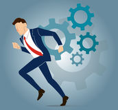 Businessman with gear to success concept vector Stock Photo