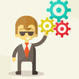 Businessman with the gears. Brain storming, Stock Photo