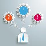 Businessman 3 Gears Speech Bubbles Idea PiAd Royalty Free Stock Photo