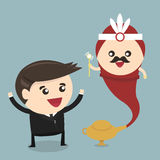 Businessman and genie giant in the magic lamp, flat design. Vector royalty free illustration