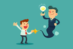 Businessman genie with idea bulb come out of magic lamp. Successful businessman genie holding idea bulb come out of golden magic lamp. Assistance and Consultant Royalty Free Stock Image
