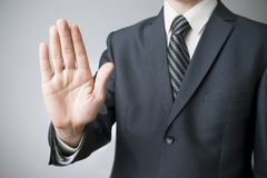 Businessman gesture with his hands Royalty Free Stock Photography
