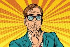 Businessman gesture Shh silence Stock Image