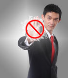 Businessman gesture stop with his hands on gray background Stock Photo