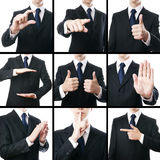 Businessman gestures collage Stock Photo