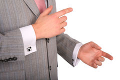 Businessman gestures by hand Royalty Free Stock Photography