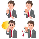 Businessman with gestures of thumbs up and down. Set of businessman expressing acceptance and rejection with hand sign, thumbs up and down. EPS10 Stock Photo