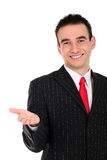 Businessman gesturing. Handsome young businessman gesturing, standing over white background Stock Photo