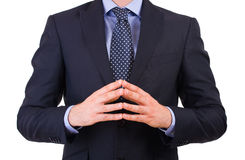 Businessman gesturing with both hands. Stock Photos