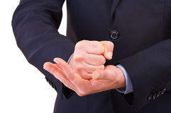 Businessman gesturing with both hands. Stock Photography