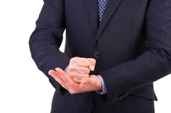 Businessman gesturing with both hands. Royalty Free Stock Photo