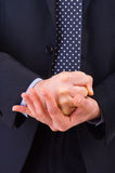 Businessman gesturing with both hands. Stock Photo