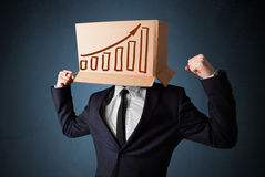 Businessman gesturing with a cardboard box on his head with diag Stock Photography