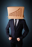 Businessman gesturing with a cardboard box on his head with diag Stock Image