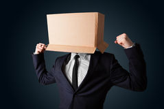 Businessman gesturing with a cardboard box on his head Stock Photos